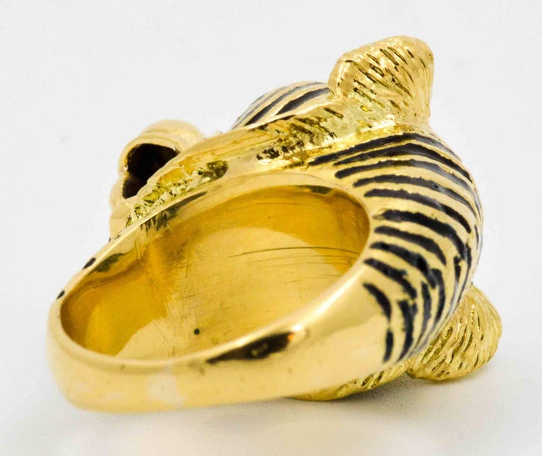 4e3e7d135 Women's or Men's 18 Karat Yellow Gold and Enamel Tiger Head Ring For Sale