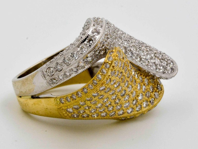 Modern 2.68 ctw Diamond 18 Karat Yellow and White Gold Bypass Ring For Sale