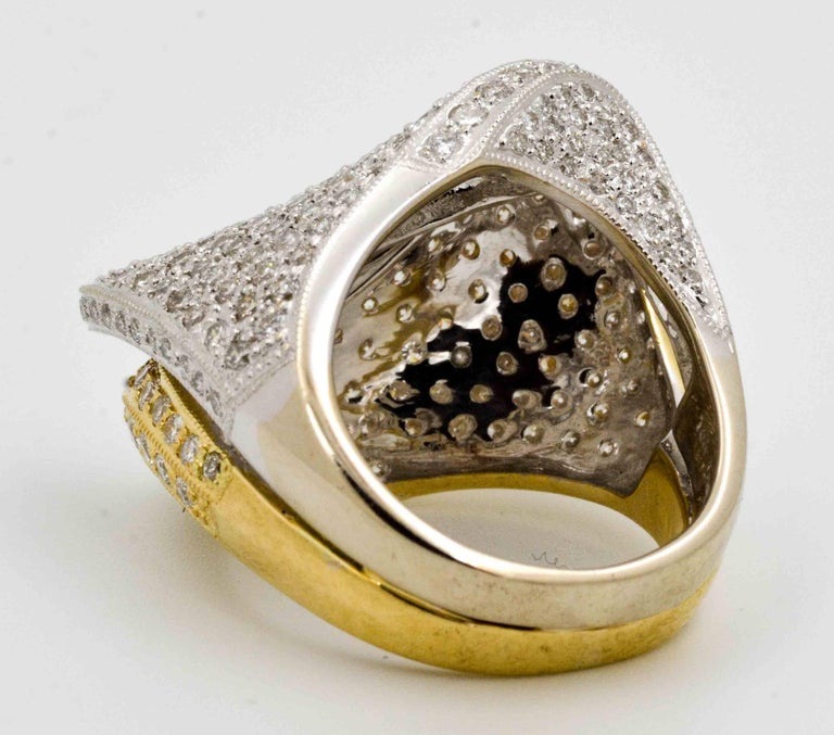 2.68 ctw Diamond 18 Karat Yellow and White Gold Bypass Ring In Excellent Condition For Sale In Dallas, TX