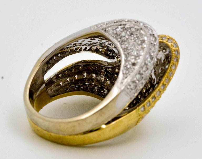Women's or Men's 2.68 ctw Diamond 18 Karat Yellow and White Gold Bypass Ring For Sale