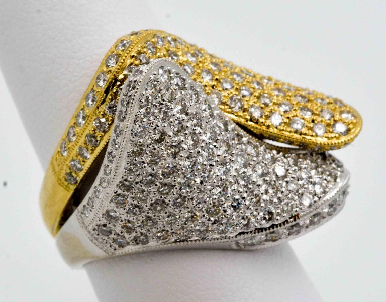 2.68 ctw Diamond 18 Karat Yellow and White Gold Bypass Ring For Sale 1