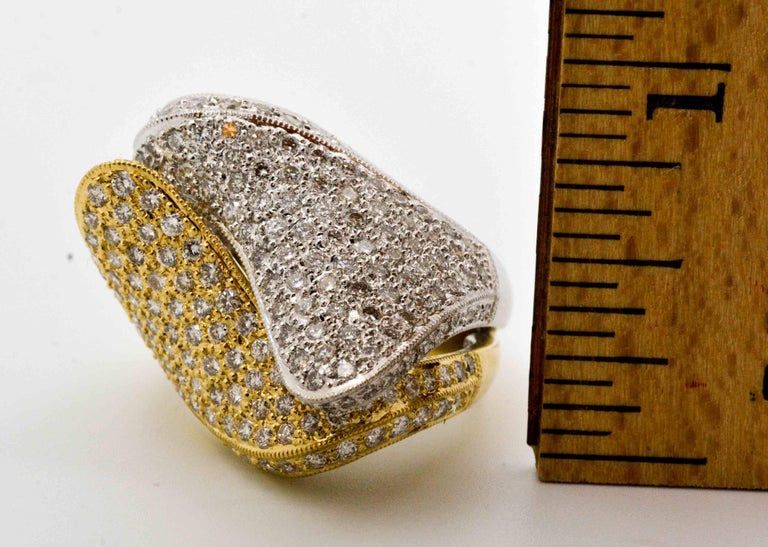 2.68 ctw Diamond 18 Karat Yellow and White Gold Bypass Ring For Sale 2