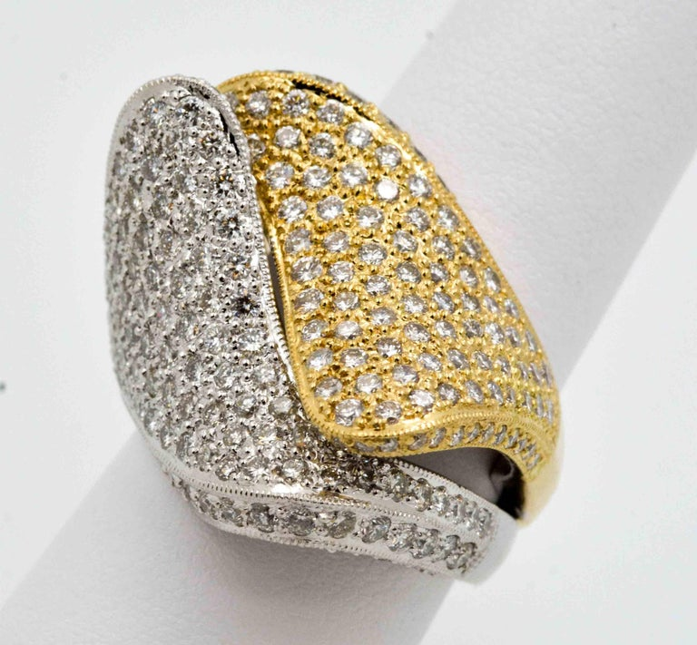 2.68 ctw Diamond 18 Karat Yellow and White Gold Bypass Ring For Sale 3