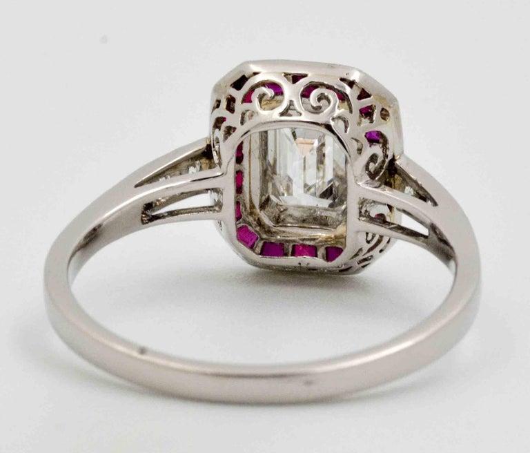 art deco 072 carat emerald cut diamond ruby halo platinum