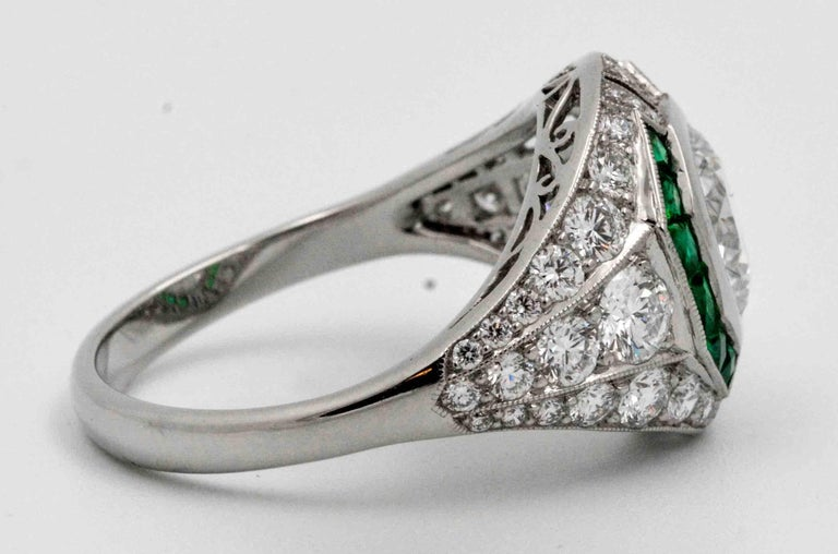 The beauty is in the details of this custom Art Deco style, handmade ring which captures the beauty and elegance of the early 20th century, but with modern round brilliant cut diamonds and excellent state of the art  jewelry crafting techniques.