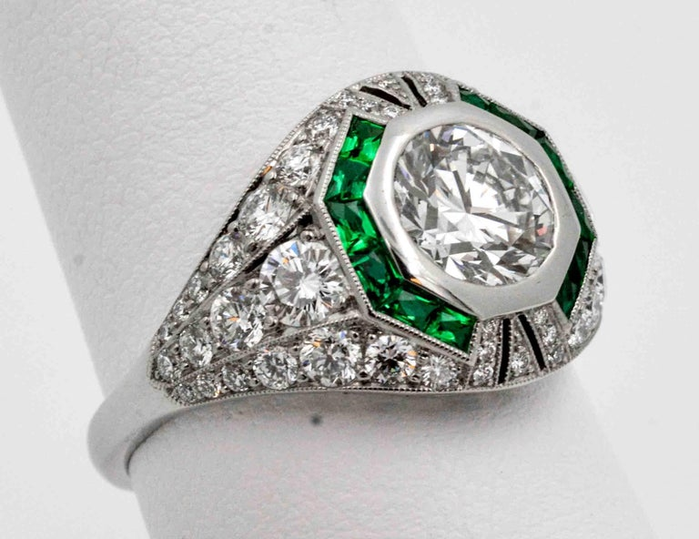 1.58 Carat Round Diamond Emerald Halo Engagement Platinum Ring For Sale 1