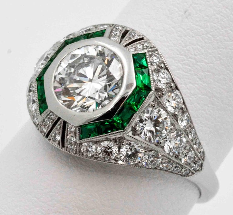 1.58 Carat Round Diamond Emerald Halo Engagement Platinum Ring For Sale 2