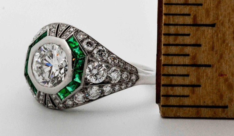 1.58 Carat Round Diamond Emerald Halo Engagement Platinum Ring For Sale 3