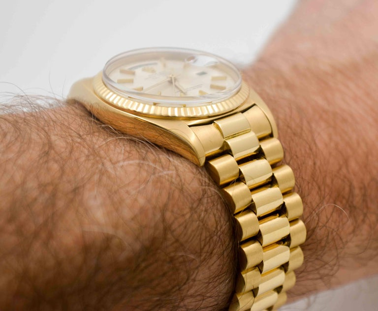 Rolex Yellow Gold Day Date Automatic Wristwatch For Sale 5