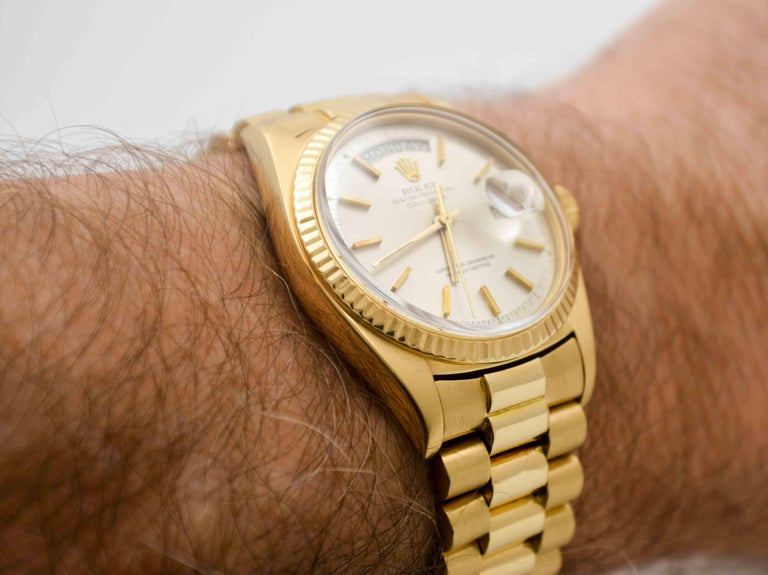 Rolex Yellow Gold Day Date Automatic Wristwatch For Sale 4