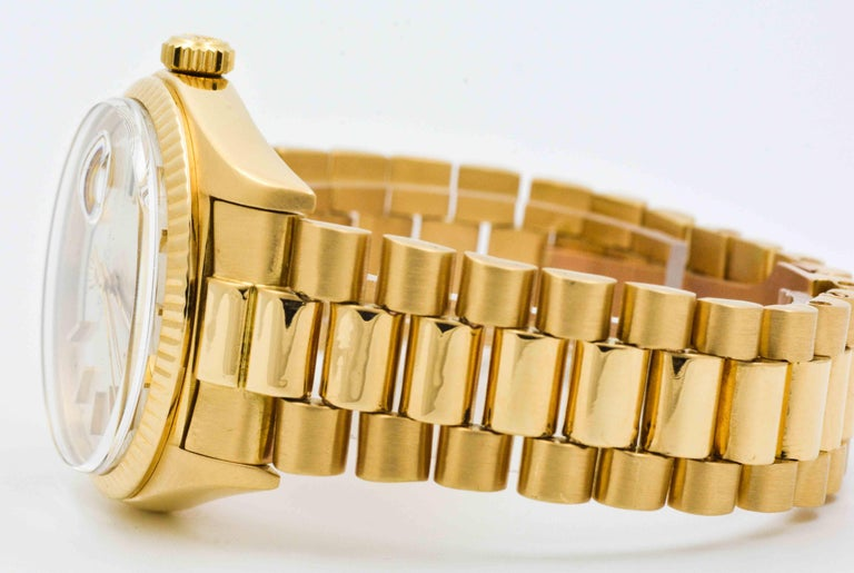 Rolex Yellow Gold Day Date Automatic Wristwatch For Sale 3