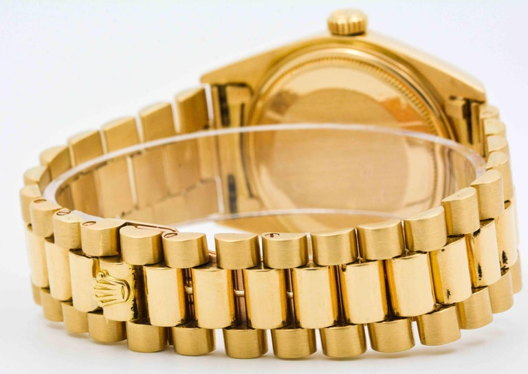 Rolex Yellow Gold Day Date Automatic Wristwatch For Sale 1