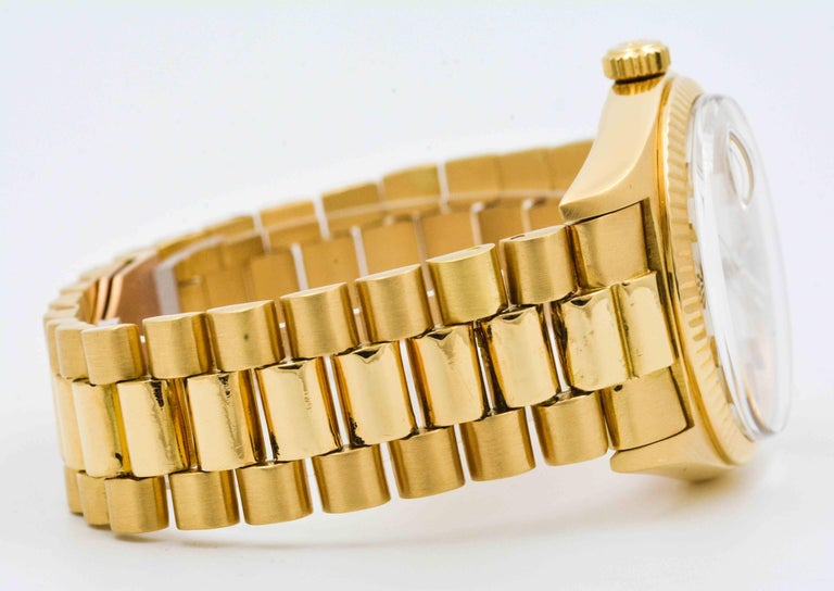 Women's or Men's Rolex Yellow Gold Day Date Automatic Wristwatch For Sale