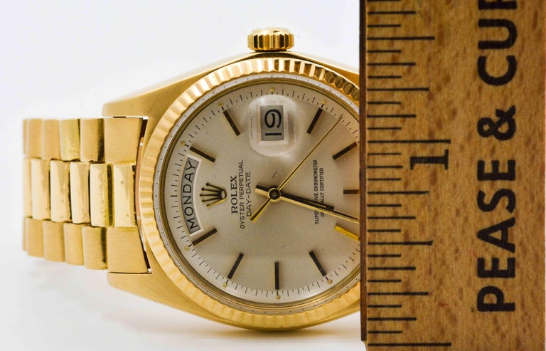 Rolex Yellow Gold Day Date Automatic Wristwatch In Excellent Condition For Sale In Dallas, TX