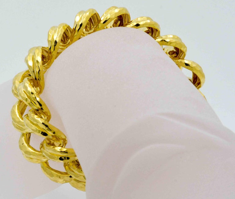 Henry Dunay Faceted Yellow Gold Curb Link Bracelet In As New Condition For Sale In Dallas, TX