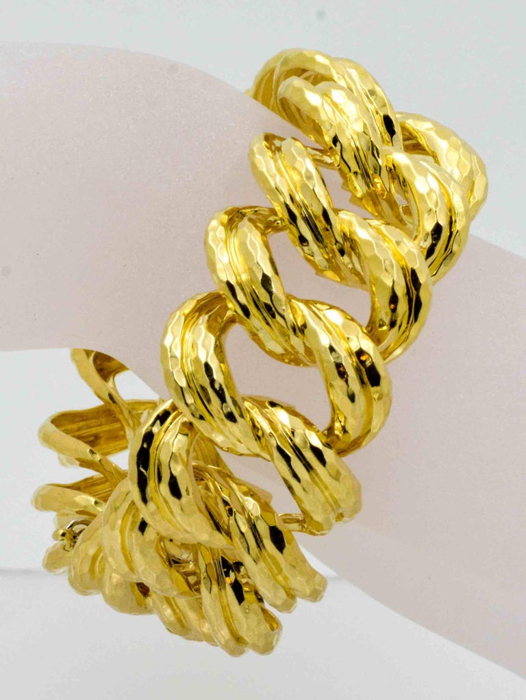 Henry Dunay Faceted Yellow Gold Curb Link Bracelet For Sale 1