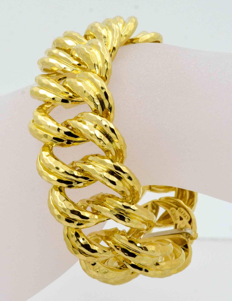 Modern Henry Dunay Faceted Yellow Gold Curb Link Bracelet For Sale