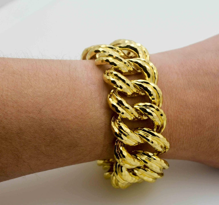 Henry Dunay Faceted Yellow Gold Curb Link Bracelet For Sale 3