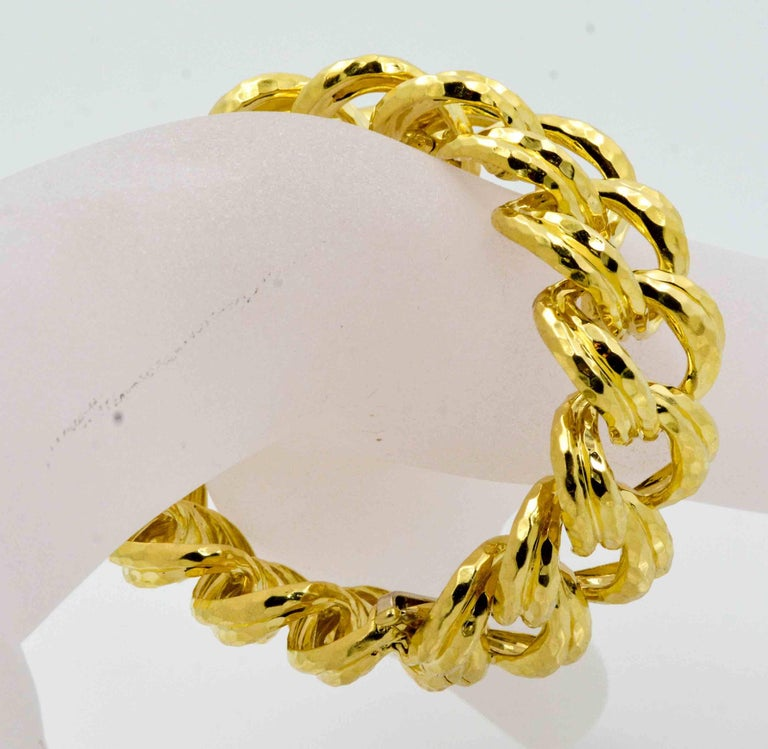 Women's Henry Dunay Faceted Yellow Gold Curb Link Bracelet For Sale