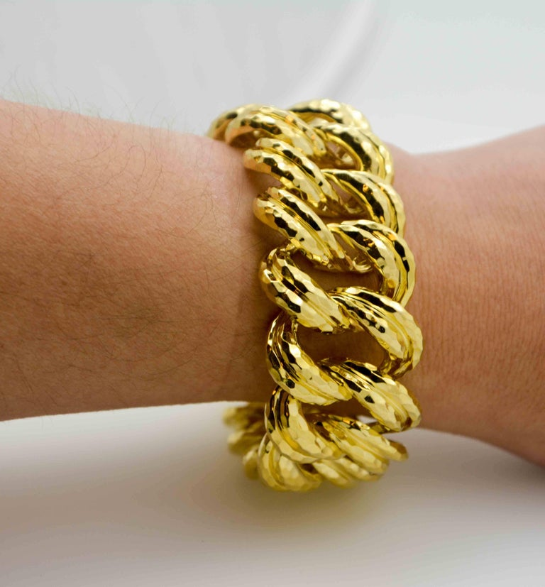 Henry Dunay Faceted Yellow Gold Curb Link Bracelet For Sale 4