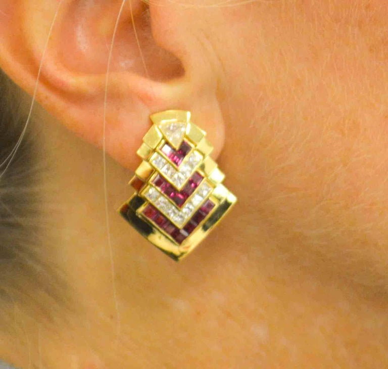 Modern  Ruby  Diamond Gold Chevron Earclips For Sale