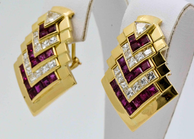Ruby  Diamond Gold Chevron Earclips For Sale 1