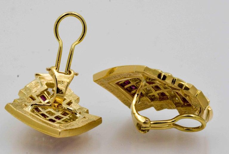 Princess Cut  Ruby  Diamond Gold Chevron Earclips For Sale
