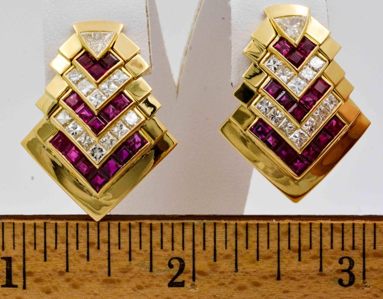 Ruby  Diamond Gold Chevron Earclips For Sale 2