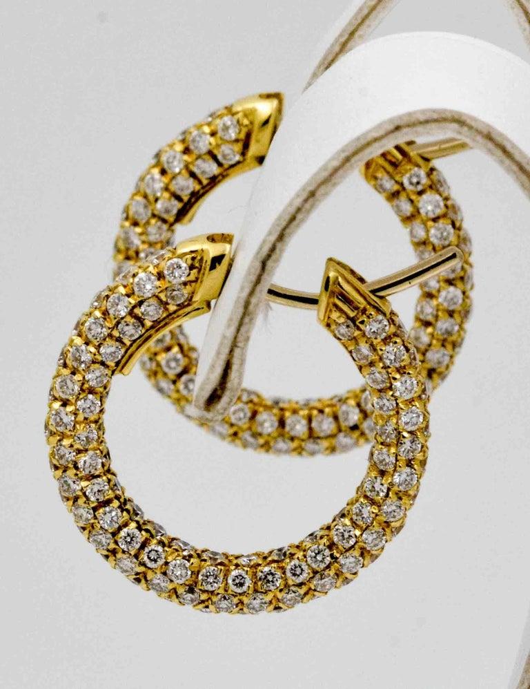 Round Cut 3 82 Carat Diamond 18 Karat Yellow Gold Hoop Earrings For