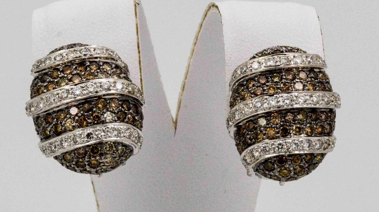3.00 Carat Brown Diamonds 1.40 Carat White Diamonds Earrings For Sale 2
