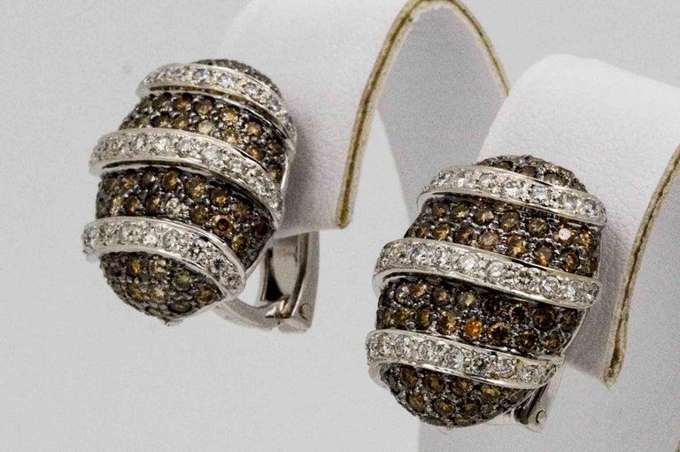 Women's 3.00 Carat Brown Diamonds 1.40 Carat White Diamonds Earrings For Sale