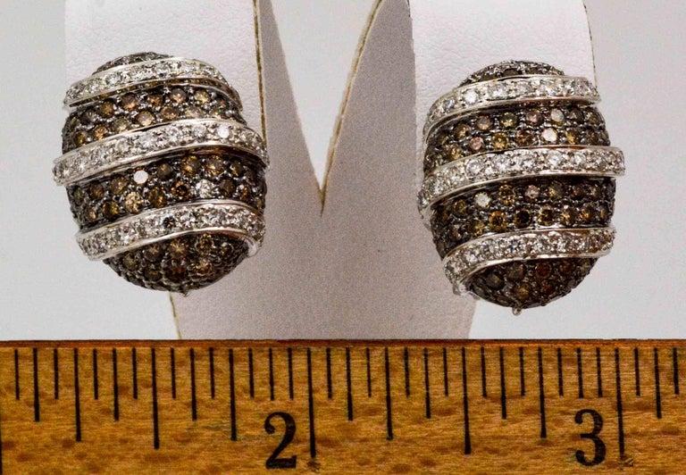 3.00 Carat Brown Diamonds 1.40 Carat White Diamonds Earrings For Sale 1