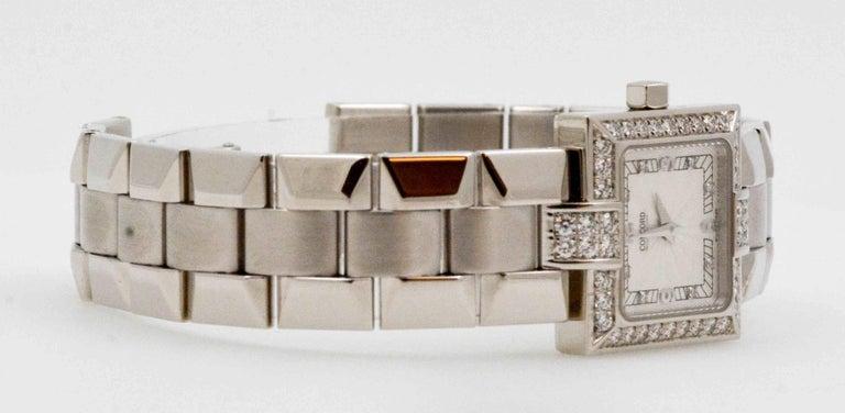 Concord Ladies White Gold Diamond Bezel La Scala Quartz Wristwatch In Excellent Condition In Dallas, TX