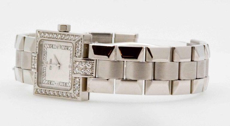 Round Cut Concord Ladies White Gold Diamond Bezel La Scala Quartz Wristwatch