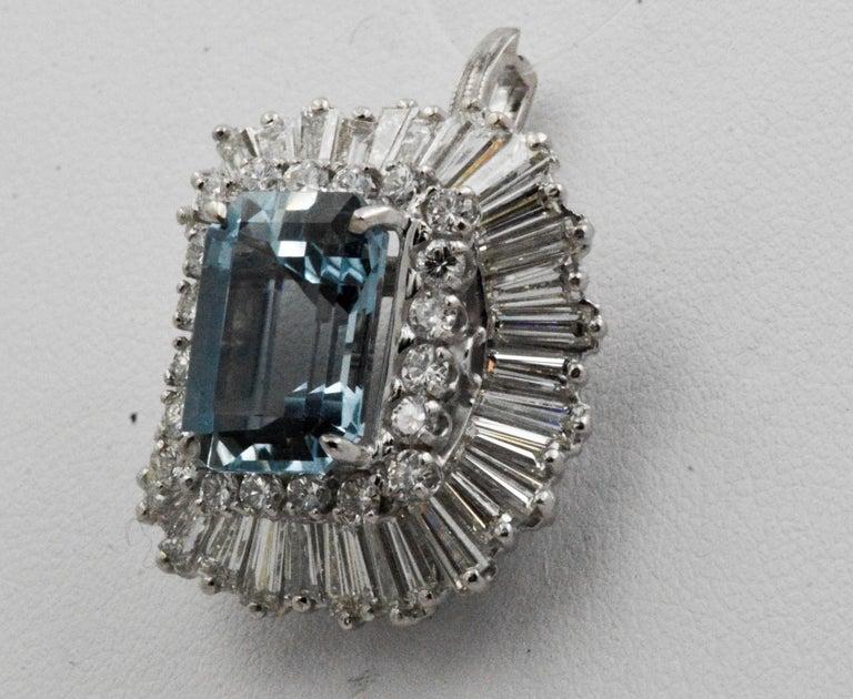 Emerald Cut 4.51 Carat Aquamarine 3.75 Carat Diamond Ballerina Cocktail Ring/Pendant For Sale