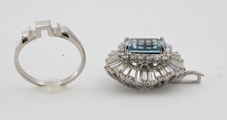 Women's 4.51 Carat Aquamarine 3.75 Carat Diamond Ballerina Cocktail Ring/Pendant For Sale
