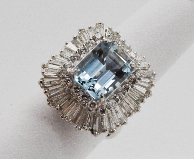 4.51 Carat Aquamarine 3.75 Carat Diamond Ballerina Cocktail Ring/Pendant For Sale 1