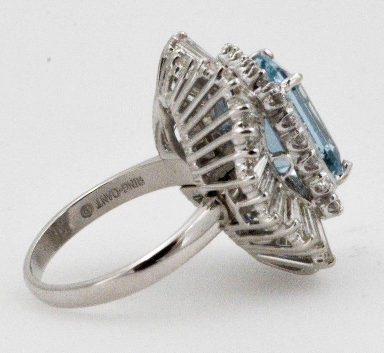 4.51 Carat Aquamarine 3.75 Carat Diamond Ballerina Cocktail Ring/Pendant For Sale 2