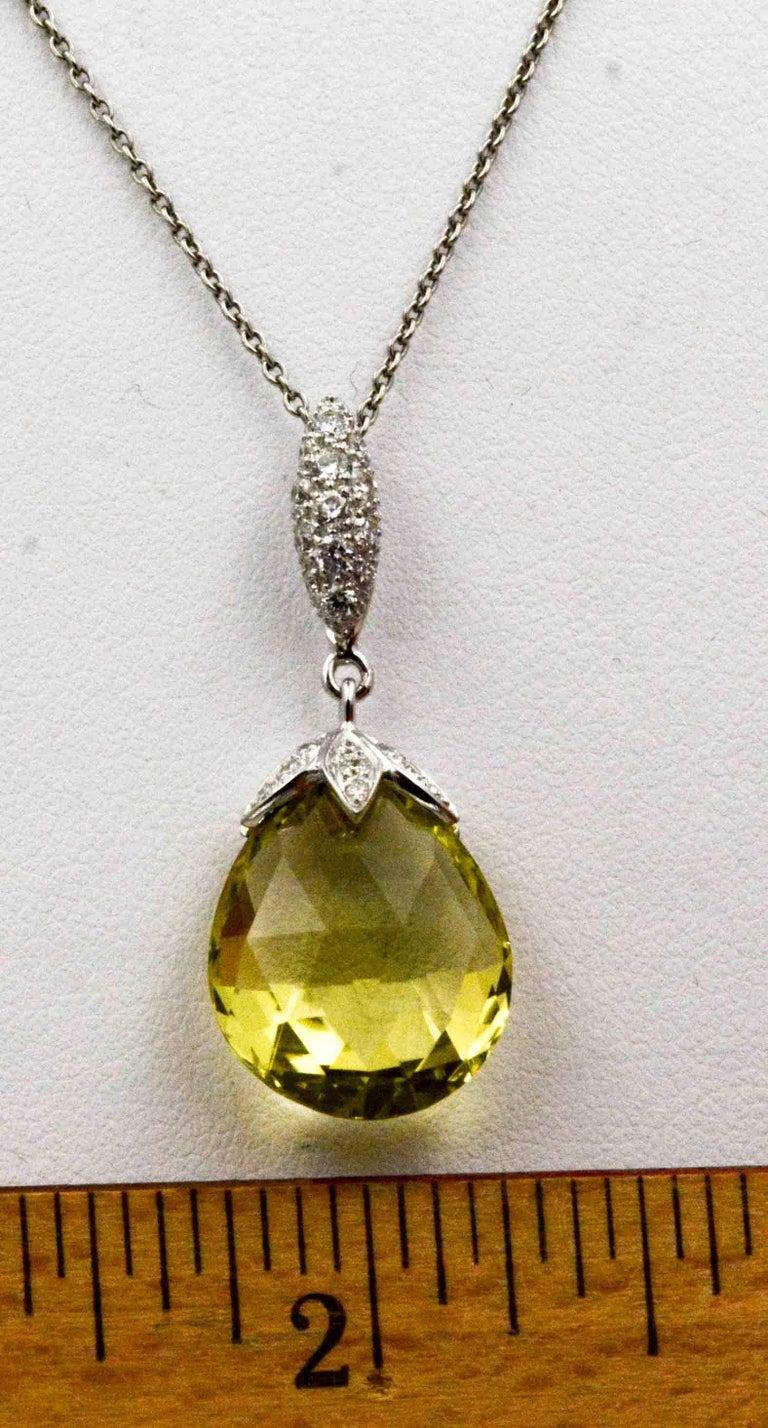 Modern 10.50 Carat Lemon Quartz Briolette Diamond Pendant Platinum Chain For Sale