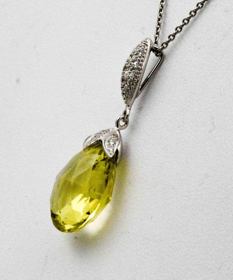 Pear Cut 10.50 Carat Lemon Quartz Briolette Diamond Pendant Platinum Chain For Sale