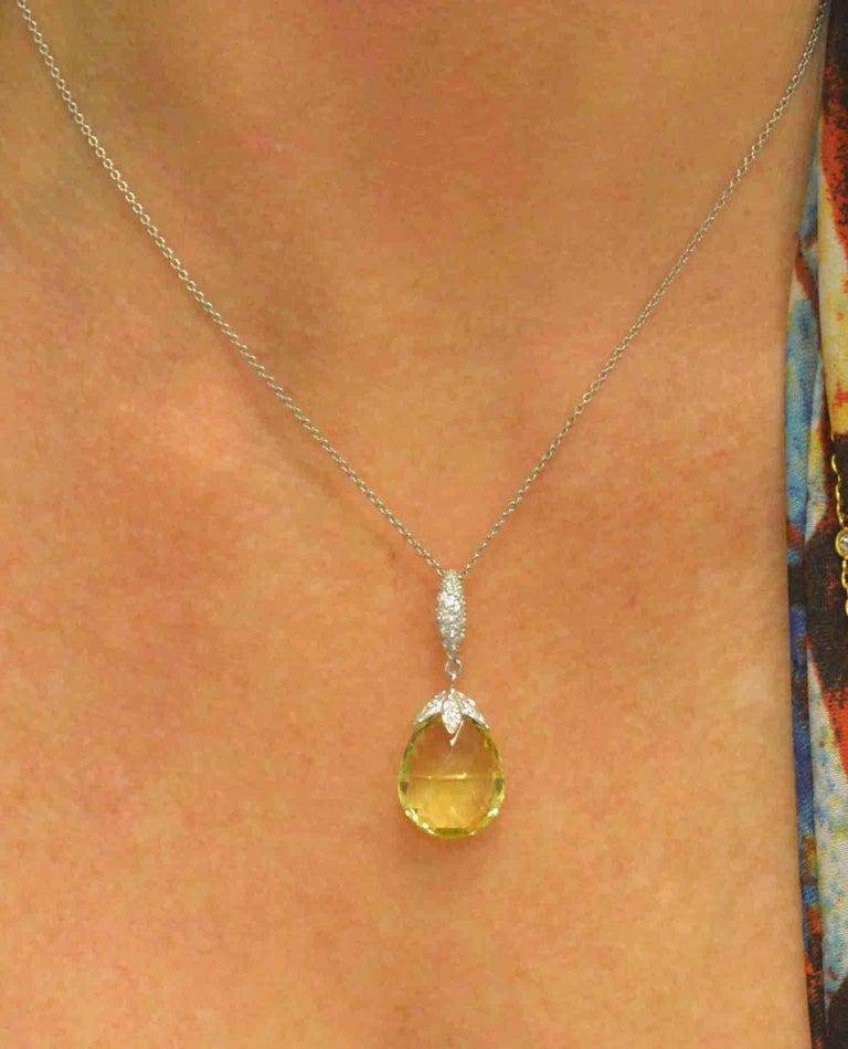 Women's 10.50 Carat Lemon Quartz Briolette Diamond Pendant Platinum Chain For Sale