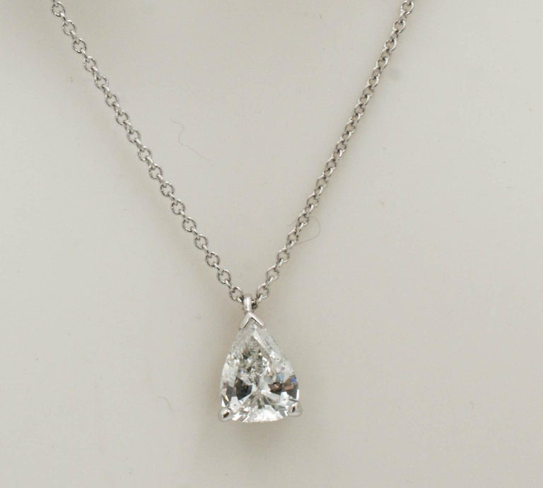Modern .83 Carat Vintage Pear Transition Cut Diamond Platinum Necklace For Sale