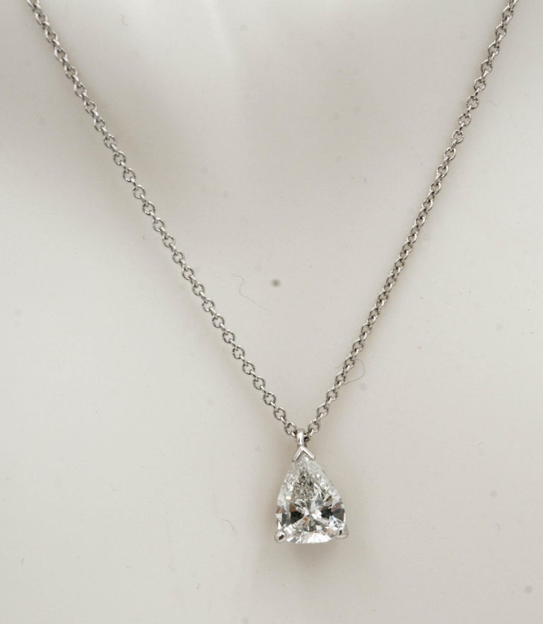 Pear Cut .83 Carat Vintage Pear Transition Cut Diamond Platinum Necklace For Sale