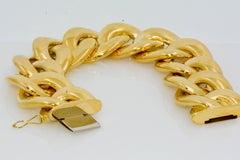Italian 18 Karat Yellow Gold Hollow Curb Link Bracelet