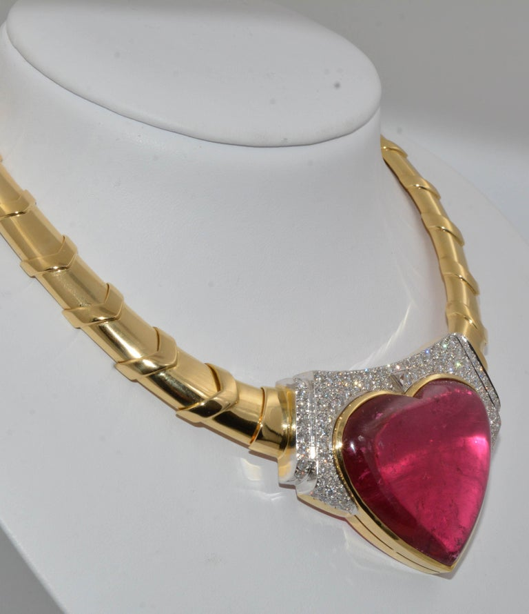 Modern David Webb 18 Karat Gold and Platinum Heart Rubellite with Diamonds Necklace For Sale