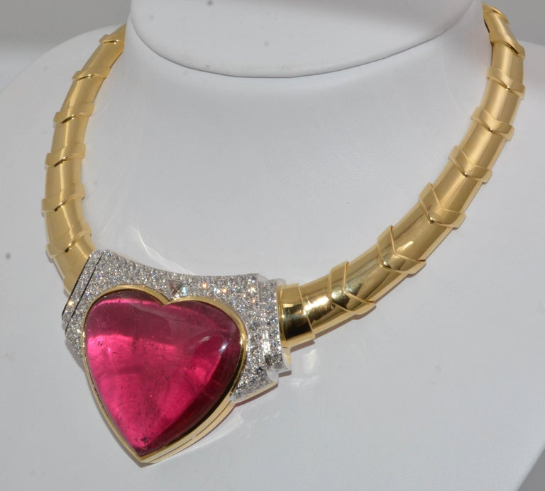 Round Cut David Webb 18 Karat Gold and Platinum Heart Rubellite with Diamonds Necklace For Sale