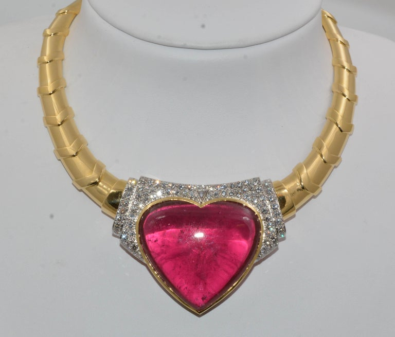 David Webb 18 Karat Gold and Platinum Heart Rubellite with Diamonds Necklace In Excellent Condition For Sale In Dallas, TX