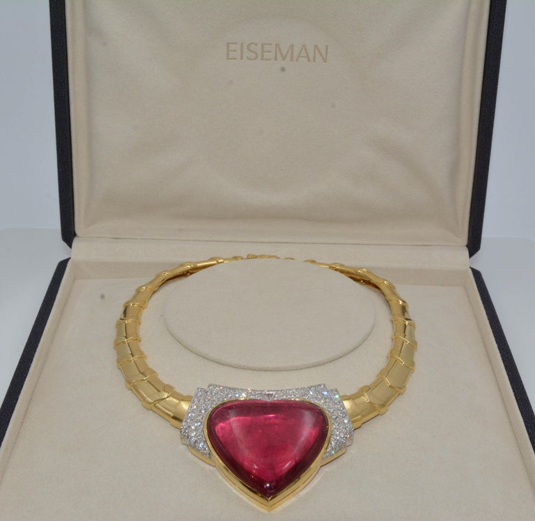 Women's David Webb 18 Karat Gold and Platinum Heart Rubellite with Diamonds Necklace For Sale