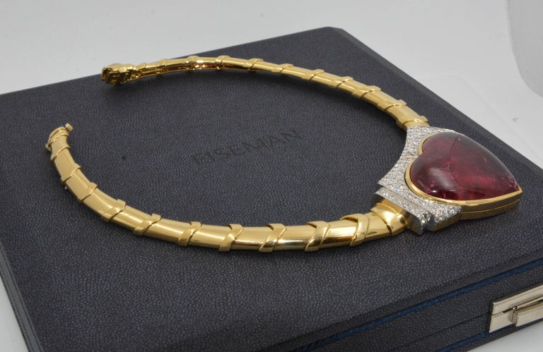 David Webb 18 Karat Gold and Platinum Heart Rubellite with Diamonds Necklace For Sale 1