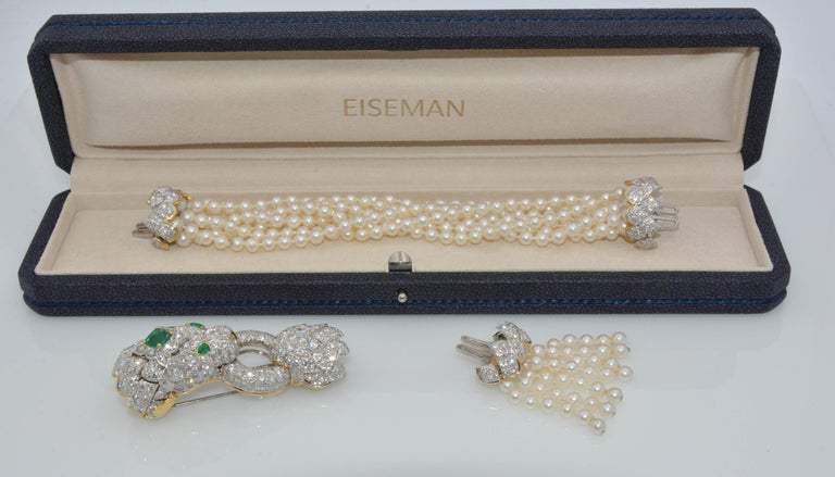 David Webb Lion Diamond and Pearl Strand Bracelet and Brooch For Sale 12
